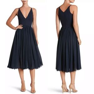 Dress The Population Navy Pleated Midi Dress